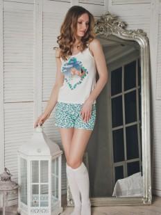 Хлопковая женская летняя пижама с шортами и майкой