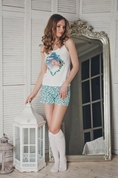 Хлопковая женская летняя пижама с шортами и майкой Dreamwood Evelena 1120 - фото 1