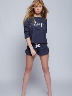 Хлопковая женская пижама с шортами и кофтой