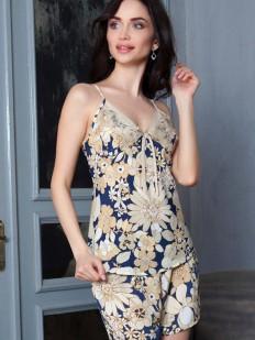 Женская атласная пижама с шортами и цветочным принтом