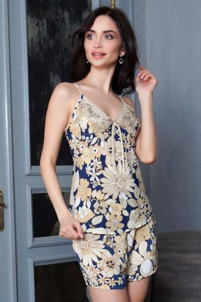 Женская атласная пижама с шортами и цветочным принтом Mia-Mia Anita 17442 - фото 1