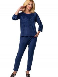 Синий велюровый спортивный женский костюм для дома