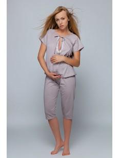 Хлопковая женская пижама для беременных с бриджами цвета мокко