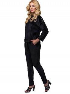 Черный велюровый домашний женский костюм с брюками