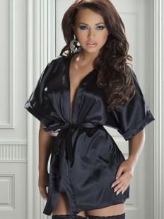 Короткий атласный женский халат кимоно
