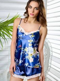 Женская летняя атласная пижама с цветочным принтом