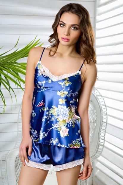 Женская летняя атласная пижама с цветочным принтом Mia-Mia Riana 17342 - фото 1