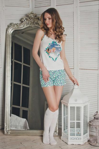 Хлопковая женская летняя пижама с шортами и майкой Dreamwood Evelena 1121 - фото 1