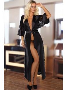 Атласный черный длинный халат с кружевом