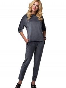 Женский велюровый спортивный костюм для дома с брюками