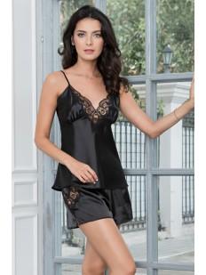 Женская черная атласная летняя пижама с шортами и кружевным топом