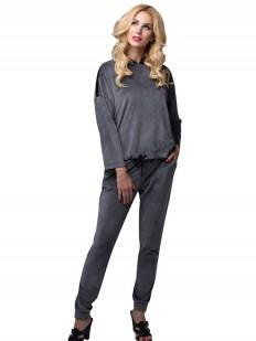 Серый велюровый женский спортивный костюм для дома