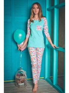 Женская хлопковая пижама с ярким цветным принтом
