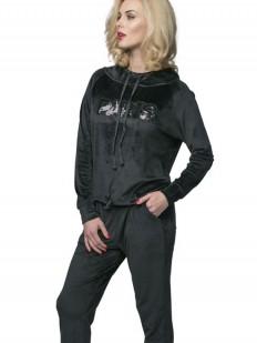 Черный спортивный домашний женский костюм с пайетками