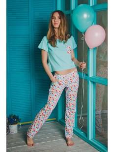 Женская яркая хлопковая пижама с брюками и цветным принтом