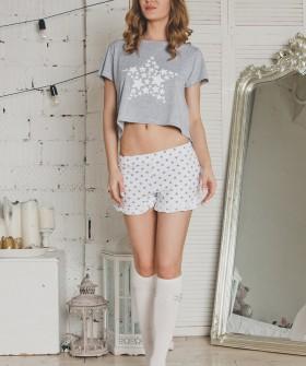 Женская летняя хлопковая пижама с шортами и звездами