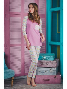 Женская яркая хлопковая пижама с брюками