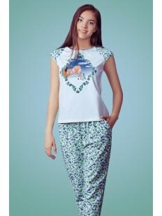 Хлопковая женская пижама с футболкой и брюками
