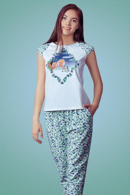 Хлопковая женская пижама с футболкой и брюками Dreamwood Evelena 1150 - фото 1