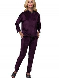 Фиолетовый велюровый домашний женский костюм с капюшоном