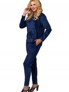 Синий велюровый женский костюм для дома с капюшоном
