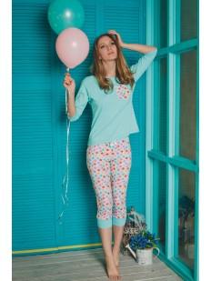 Женская пижама из хлопка с бриджами и цветным принтом