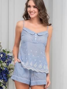 Женская летняя хлопковая пижама с шортами и топом в полоску Mia-Amore Nizza