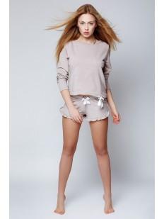 Женская хлопковая пижама c кофтой и шортами