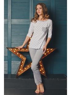 Женская хлопковая пижама с брюками и кофтой со звездами