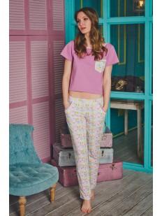 Женская летняя хлопковая пижама с шортами и цветным принтом