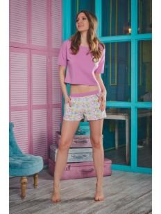 Женская летняя хлопковая пижама с шортами с ярким принтом
