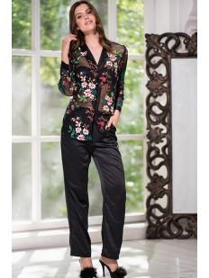 Женская атласная пижама с цветочной вышивкой Mia-Amore Courchevel