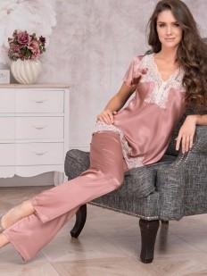 Женская пижама с брюками из шелка с кружевом