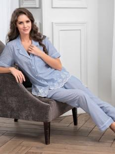 Женская хлопковая пижама с рубашкой и брюками в полоску Mia-Amore Nizza