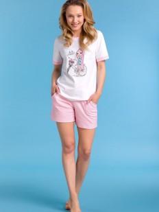 Женская хлопковая летняя пижама с шортами в клетку Passion Lingerie
