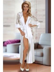 Длинный белый атласный халат кимоно с кружевом