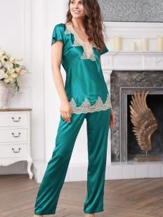 Женская шелковая пижама цвета изумруд с брюками и кружевом
