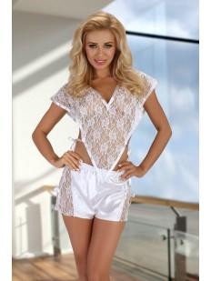 Белая женская кружевная пижама с атласными шортами