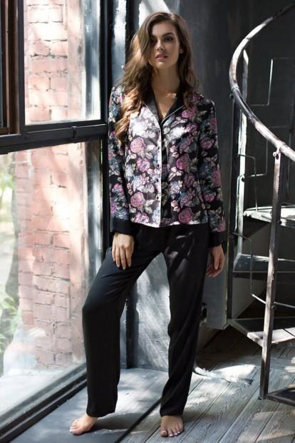 Женская атласная пижама с брюками и цветочной рубашкой Mia-Mia Sharlotta 17416 - фото 1