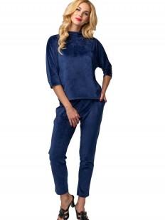 Синий велюровый женский спортивный костюм для дома