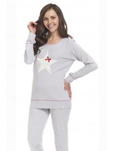 Женская хлопковая пижама с брюками и кофтой серая