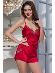 Женская красная атласная пижама с шортами на лето