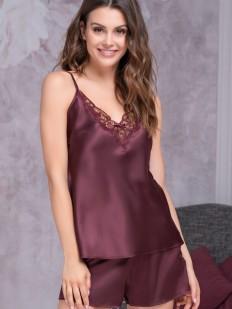 Атласная женская бордовая пижама на лето с шортами