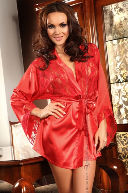 Женский красный атласный пеньюар с кружевом Beauty Night PRILANCE - фото 1