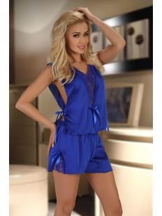 Женская синяя атласная пижама с кружевом Beauty Night Mellissa Blue