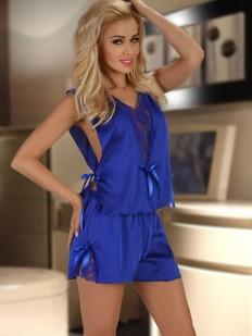 Женская синяя атласная пижама с кружевом и шортами