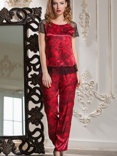 Женская шелковая пижама с брюками и цветочным принтом розы