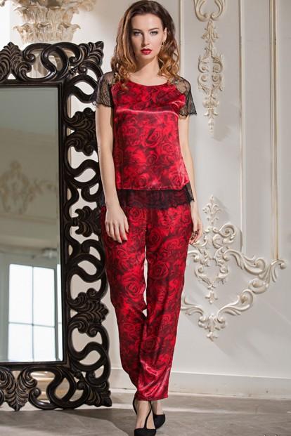 Шелковая женская пижама с брюками и цветочным принтом розы Mia-Amore Carmen 3166 - фото 1