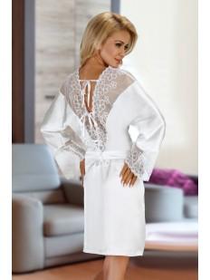 Белый атласный женский халат с кружевными вставками