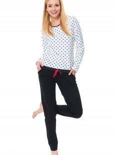 Хлопковая женская пижама с брюками и белой кофтой в горошек